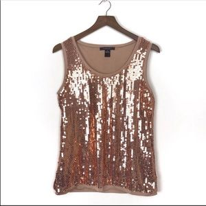 AUGUST SILK Bronze Sequin Tank Top XL